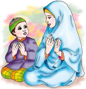 ibu dan anak lelakinya berdoa